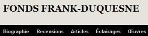 Le Fonds Frank-Duquesne en ligne